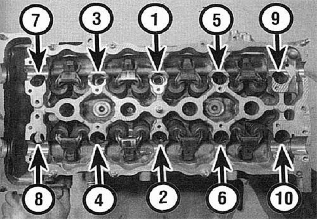 Порядок затягивания головки блока 16-клапаном двигателе