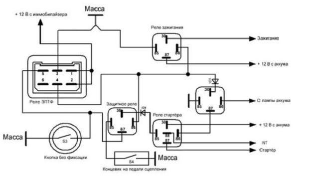 Сложная схема сборки системы стоп-старт