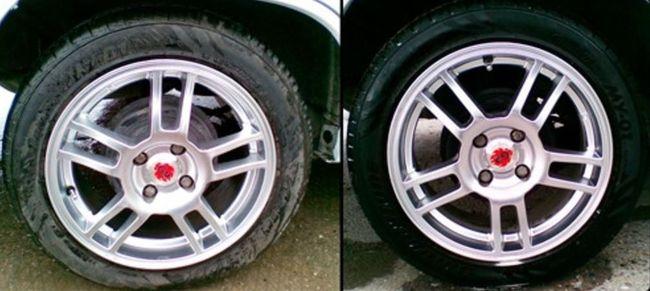 Чернитель для шин до и после